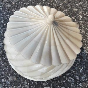 Vintage Hand Carved Bone Trinket Dish Bowl Box Lid